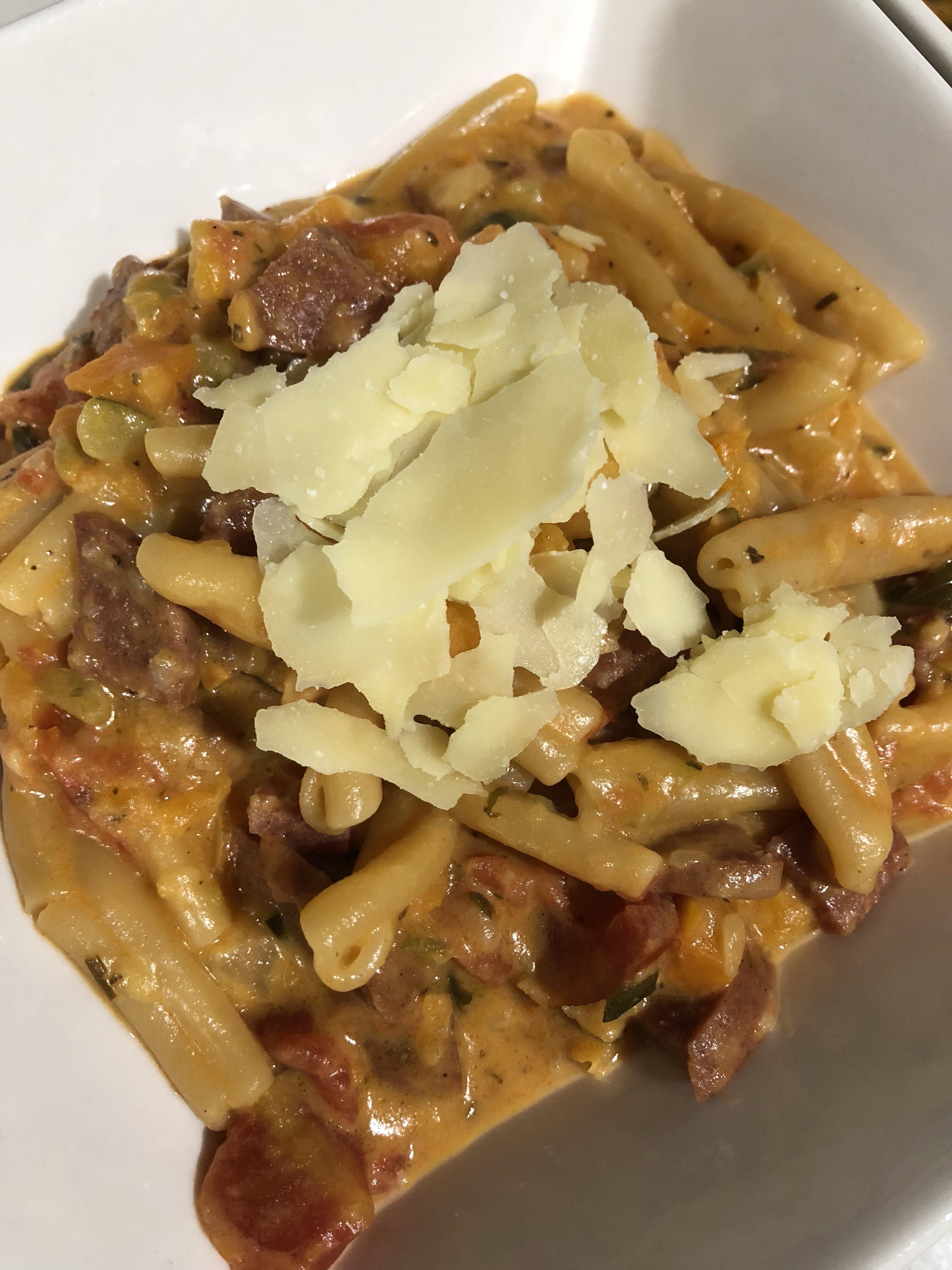 Creamy Sweet Potato & Salami Pasta