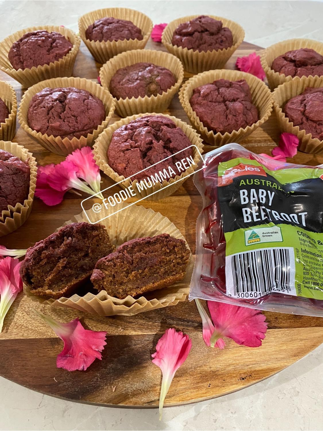 Beetroot, Banana & Chocolate Muffins
